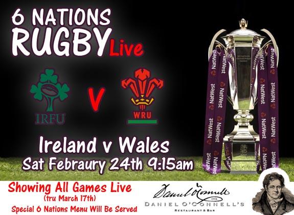 six nations match Ireland v Wales live at danieloconnells King Street alexandria
