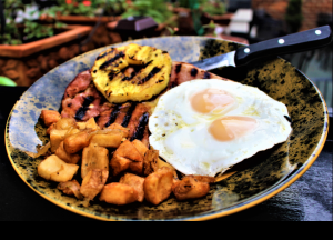 Gammon Steak with Eggs and Breakfast Potatoes